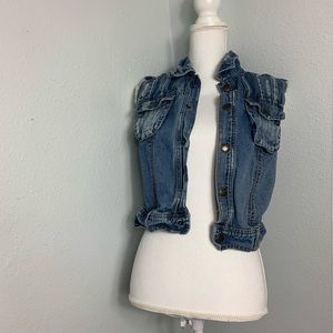 Free People Denim Vest with Crochet back